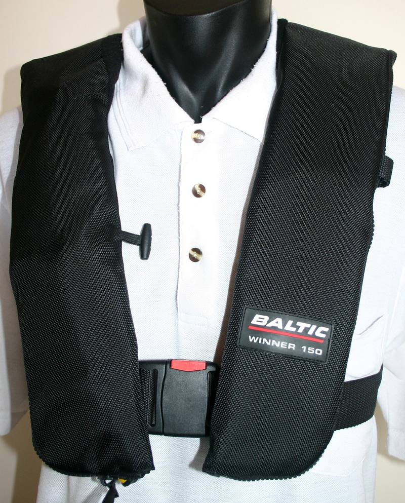 Baltic inflatable lifejacket c/w approved light.  Contant wear style CAA acceptance Rule Part 91 & 135- Red also available